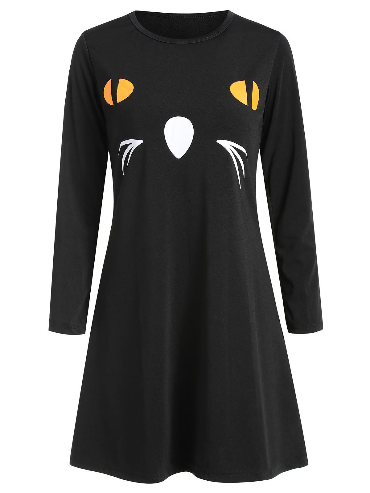 Women's Round Neck Long Sleeve Halloween Printing A-line Dress - NATURAL BLACK XL