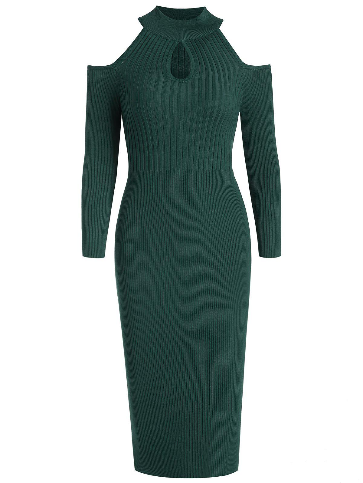 Women's Stand Collar Dew Shoulder Long Sleeved Bodycon Dress - DEEP GREEN M