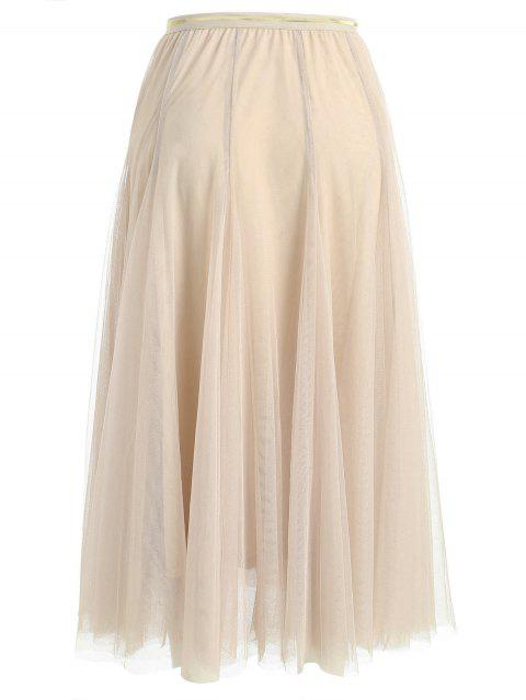 Womens Elegant Combo Color Waistband Pleats Skirt - BEIGE M