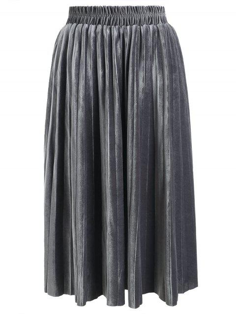 Womens Velvet Sunray Pleats A Line Elegant Skirt - SILVER S