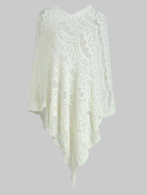 Hollow Out Fringe Irregular Pullover Shawl Sweater - WHITE