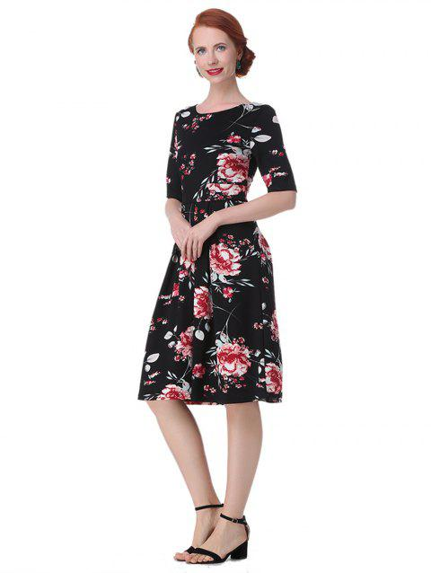 Vintage Backless Floral  Dress - BLACK 2XL