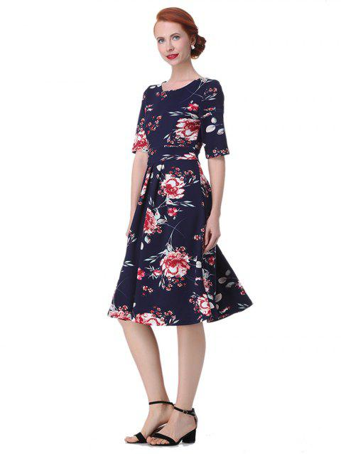 Vintage Backless Floral  Dress - DEEP BLUE M