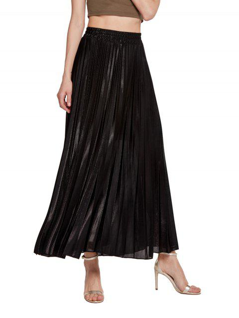 Womens Lurex Sunray Pleats A Line Skirt - BLACK 2XL