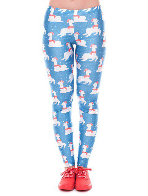 Women Winter Digita Print Christmas  Leggings Tights  Pants - BLUE L
