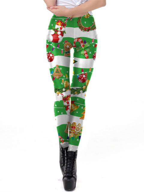 Womens  Christmas Print Active Workout Stretch Footless Leggings - GREEN XL