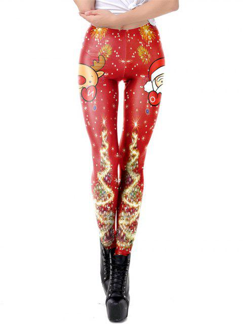 Women Christmas Printed Leggings High Waist Stretchy Tights - RED S