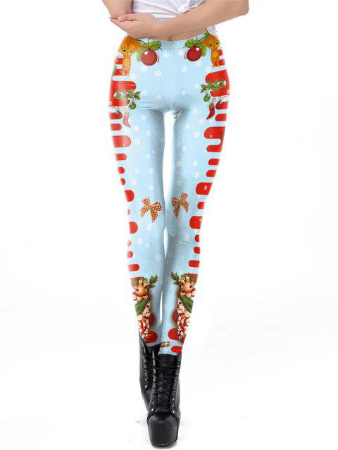 Women Digital Print Ugly Christmas Sweater Leggings Footless - BLUE XL