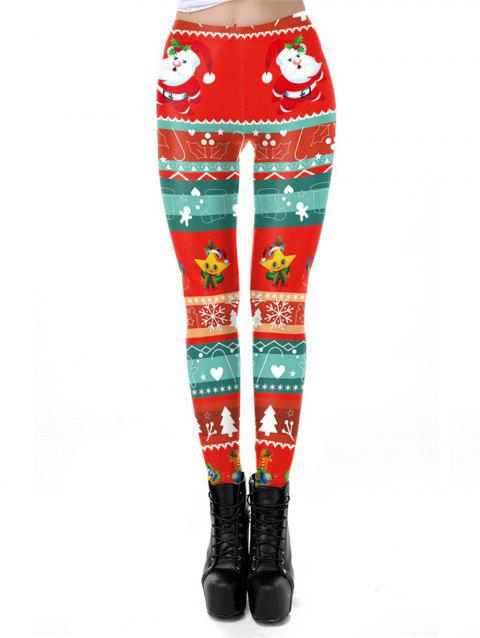 Womens Winter Print Christmas Leggings Pants - RED S