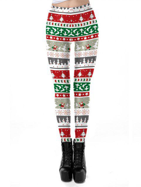 Women Snowflake Graphic Printed Stretchy Leggings Pants - RED S