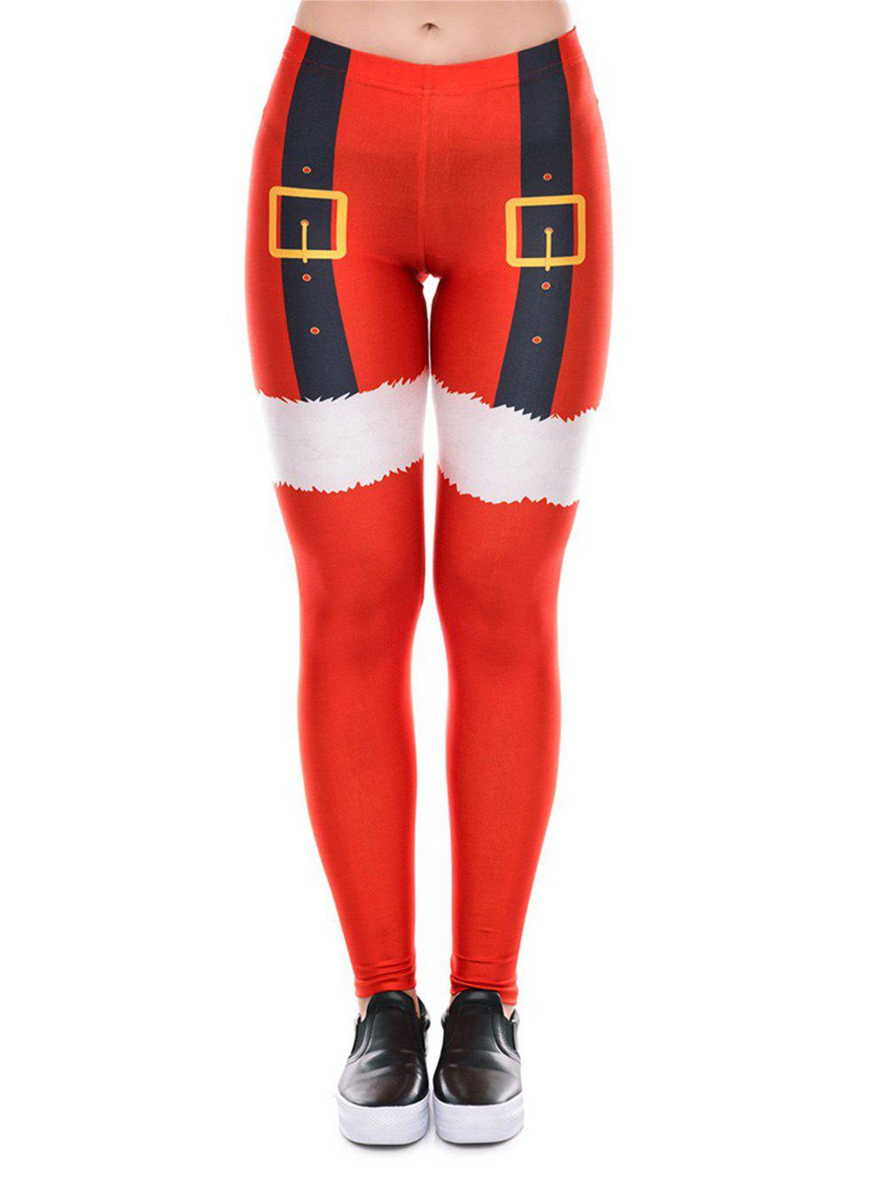 Womens  Santa Christmas Leggings Funny Costume Tights - RED S