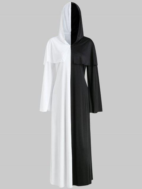 Halloween Costume Ghost Bride Dress Cosplay Black and White Impermanence Messengers - WHITE/BLACK ONE SIZE
