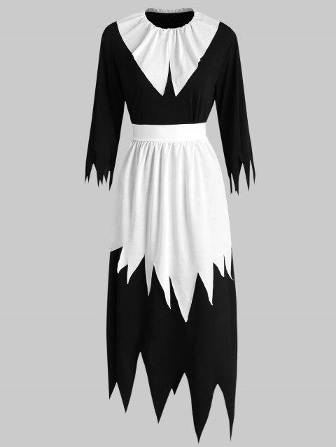 Scary Halloween Costume Black Witch Women's Long Dress With Hat - WHITE/BLACK ONE SIZE