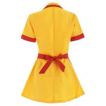 Waitress Uniform Cosplay Fancy Dress  Party Costume - YELLOW M