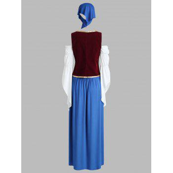 Orgshine Halloween Pirate Costume One-line Neck Pirates Costume Oktoberfest Costume - BLUE 2XL