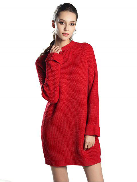 High Neck Raglan sleeve knit sweater Mini dress - RED ONE SIZE