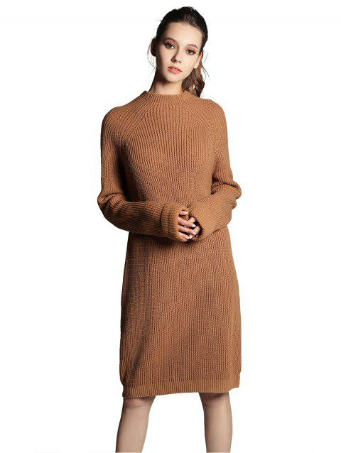 High Neck Raglan sleeve knit sweater Mini dress - COFFEE ONE SIZE