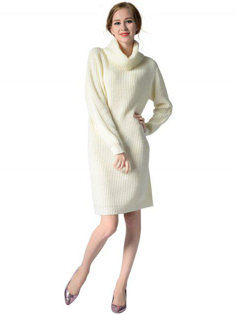 Turtleneck neck Long sleeves rib kniting sweater dress - WHITE ONE SIZE