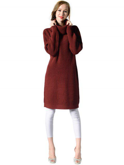Women's Turtleneck neck  Long sleeves rib kniting  casual Basic  sweater dress - RED WINE ONE SIZE