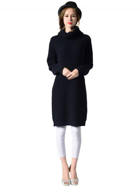 Turtleneck neck Long sleeves rib kniting sweater dress - CADETBLUE ONE SIZE