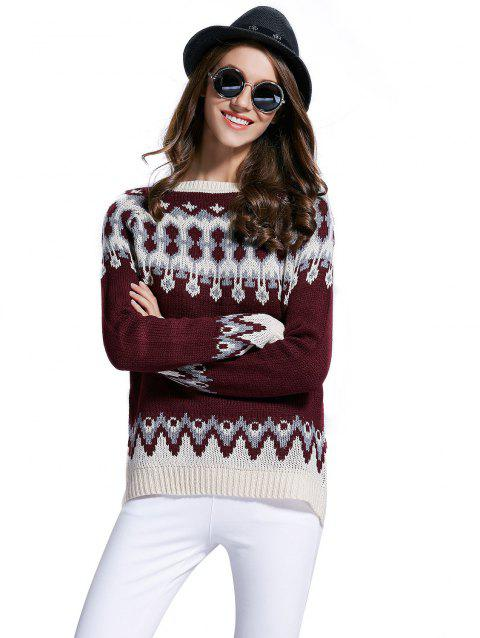 Raglan sleeve Three color the computer jacquard sweater - RED WINE S