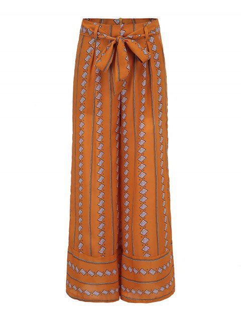 Bohemian ninth pants striped wide leg pants - YELLOW M