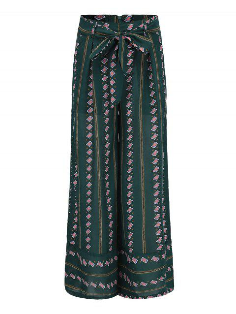 Bohemian ninth pants striped wide leg pants - GREEN S