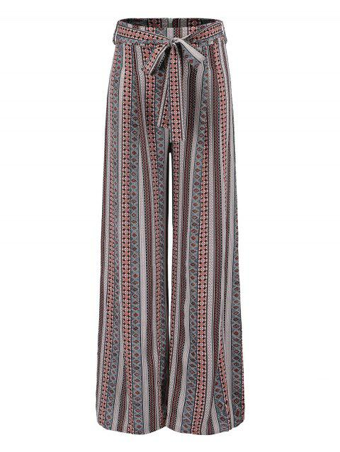 Bohemian pattern striped  wide leg pants - COFFEE M