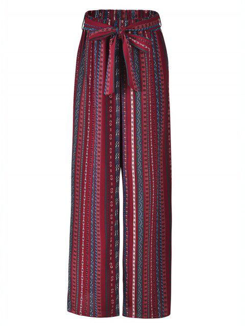 colourful striped Bohemian Side Slit wide leg pants - RED M