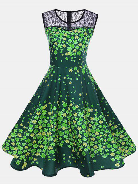Print and Lace Patchwork Sleeveless Round Neck A Line Dress - YELLOW GREEN M