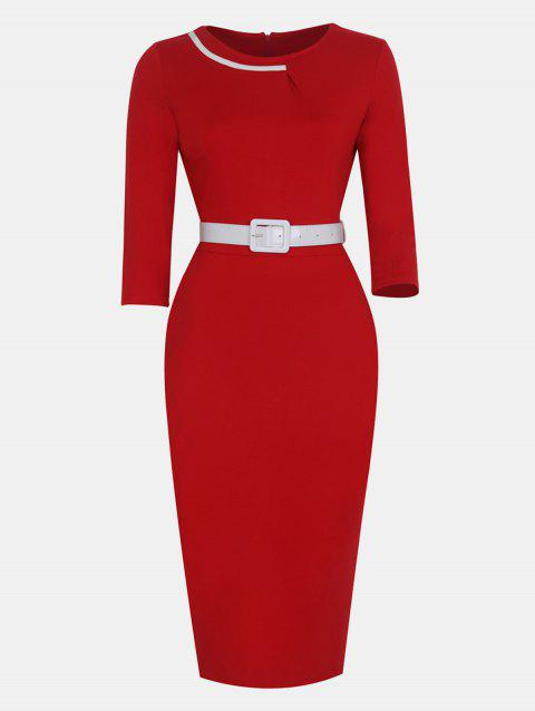 Women Fashion Round Neck and 3/4 Sleeves With belt Bodycon Dress - CHESTNUT RED XL
