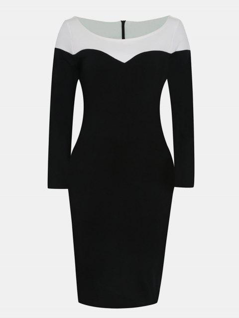 V Neck and Long Sleeve Patchwork Color Bodycon Dress - BLACK S