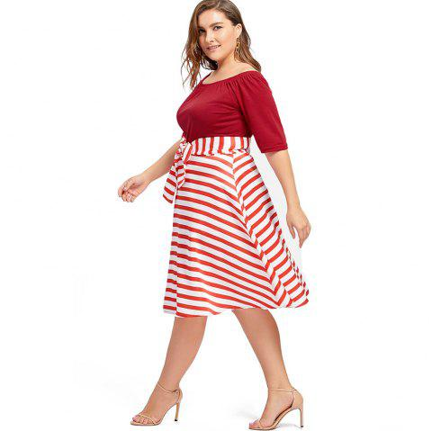 2018 Plus Size Christmas Party Stripe Knee Length Dress In Red 5xl