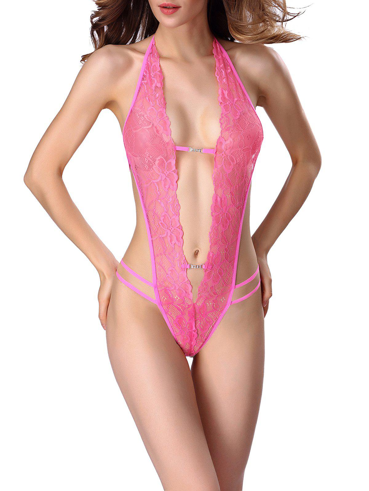 Hollow Out Lace One Piece Babydoll Lingerie - Rouge Rose 2XL