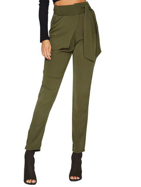 Women Casual Leisure High Waist Pants Trousers OL Office Harem Pants - ARMY GREEN S