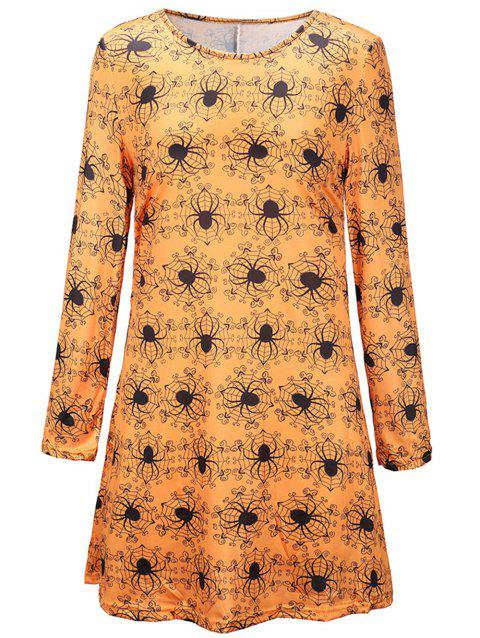 Women's Halloween Scary Bat Pumpkin Spider Smock Skater Swing Dress - multicolor D L