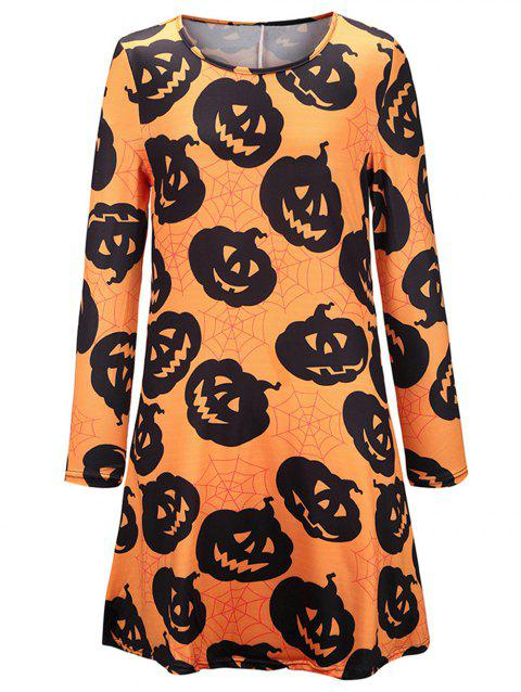 Women's Halloween Scary Bat Pumpkin Spider Smock Skater Swing Dress - multicolor F L