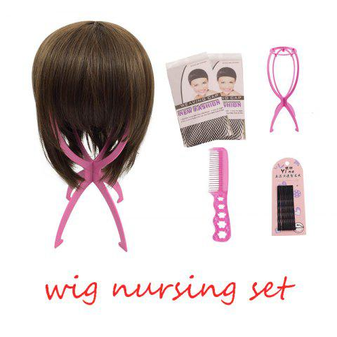 Wig Nursing Sets Stand Holder Plastic Care Steel Comb with 5pc Hairpin Two Wig Cap For Wigs - PINK