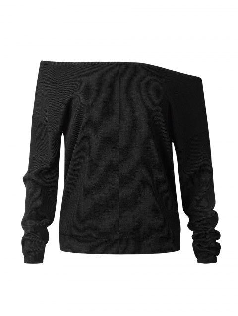Off-the-shoulder sexy long-sleeve sweater - BLACK M