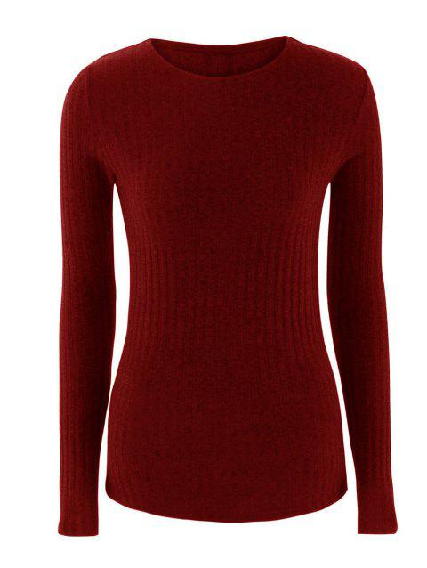 Round collar long sleeve back  lace-up sweater - RED WINE XL