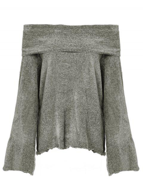 off-the-shoulder  loose velour yarn sweater - GRAY M