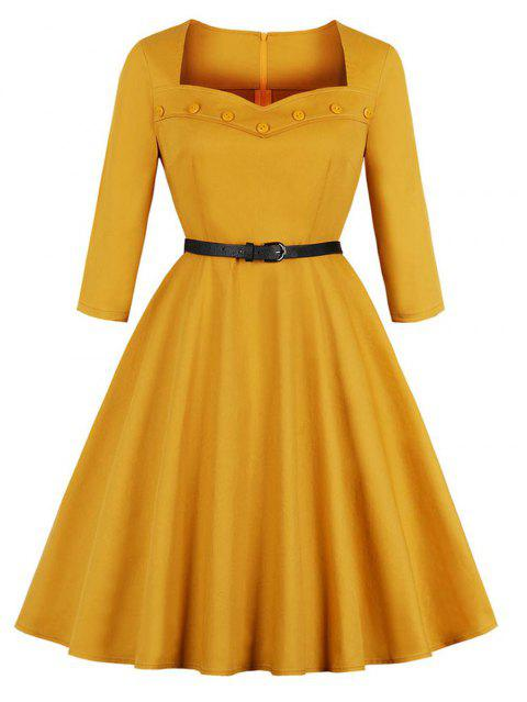 Vintage Sweetheart Button Design Long Sleeve Corset Dress - YELLOW S