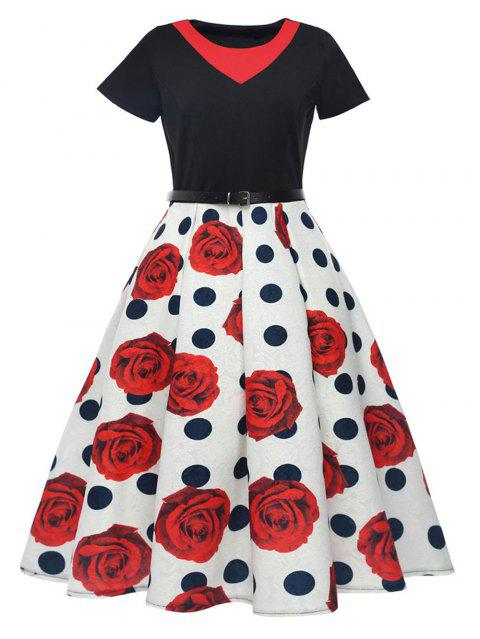 296a53035a3 Round Neck Floral Printing Stitching Design Short Sleeve Corset Dress -  Rouge 2XL