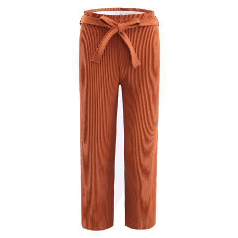 Elastic Pleated Pants with Self Belt - CARAMEL 2XL