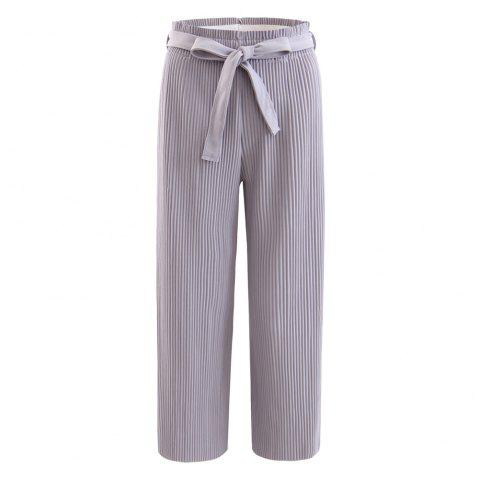 Elastic Pleated Pants with Self Belt - GRAY 2XL