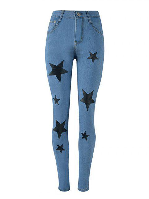 Women High Waisted Skinny Jeans  Pencil Pants - BLUE L