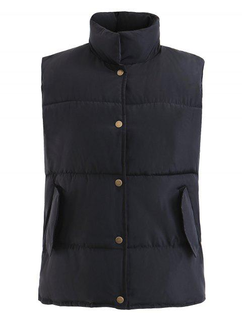 Stand Collar Snap Vests Waistcoat - BLACK XL