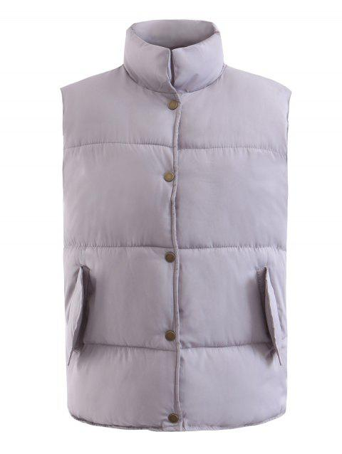 Stand Collar Snap Vests Waistcoat - GRAY L