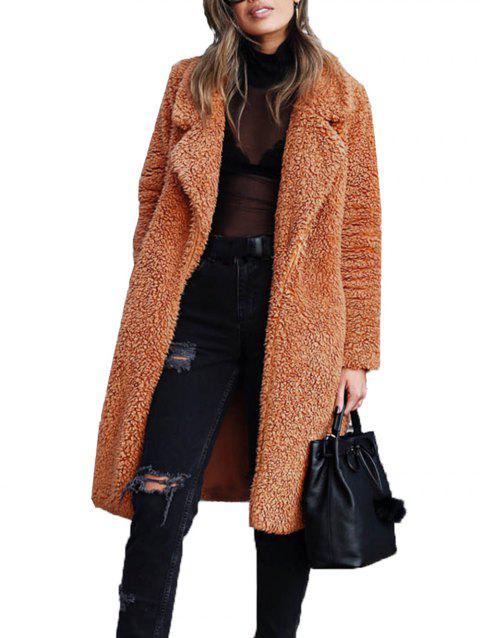 Womens Teddy Bear Pocket Fleece Jackets Lapel Coat Open Overcoat - CARAMEL S