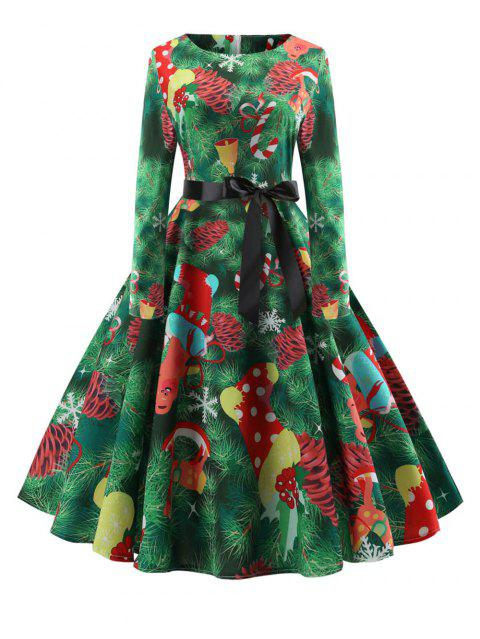 fd24d5dbf9a9 Hepburn Vintage Series Women Dress Spring And Winter Round Neck Christmas  Printing Stitching Design Long Sleeve